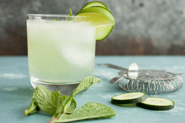 Gin Fizz with Cucumber & Lemon